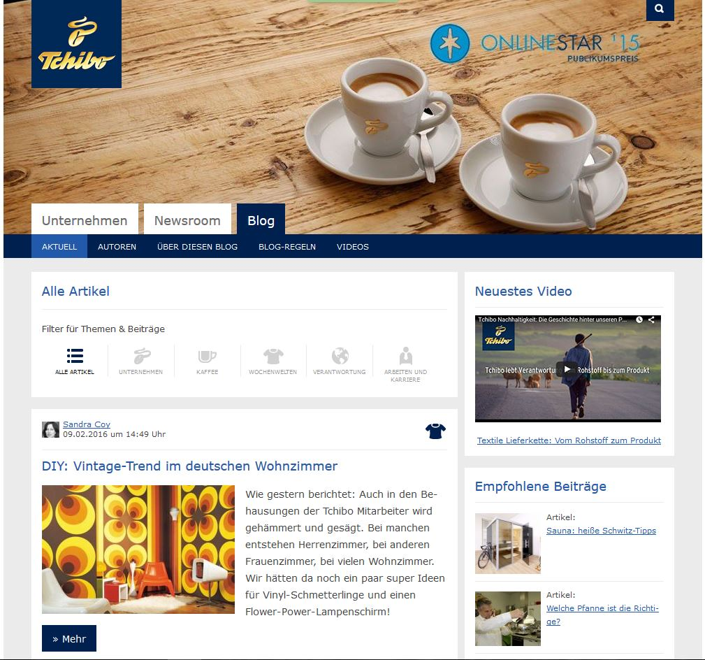 Seit 2011 online: Das Tchibo Blog