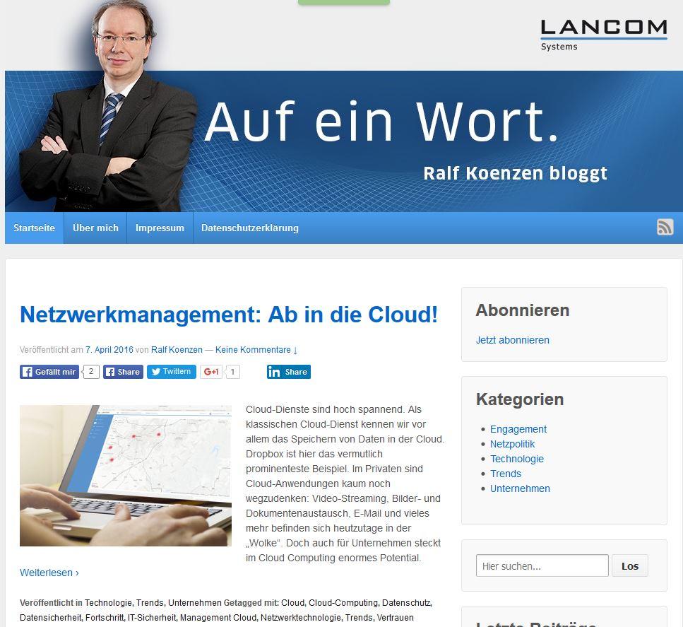 """Das CEO-Blog """"Auf ein Wort"""" von Lancom"""
