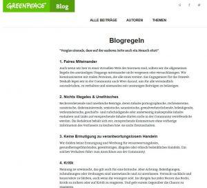Die Blogregeln auf dem Greenpeace Blog