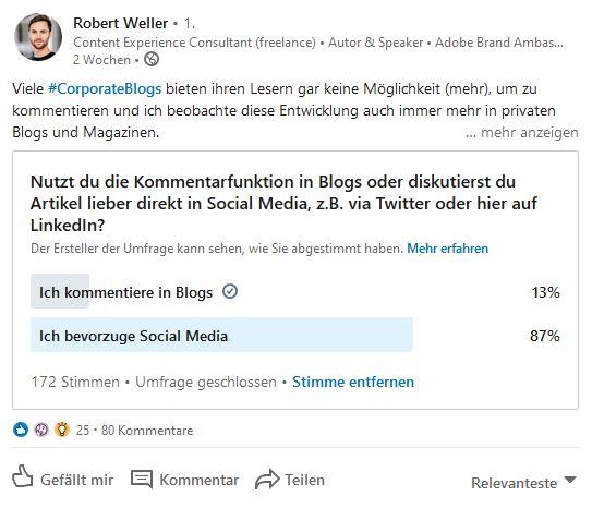 Eine spannende Diskussion zum Thema Leserkommentare auf Corporate Blogs finden Sie auf LinkedIn bei Robert Weller