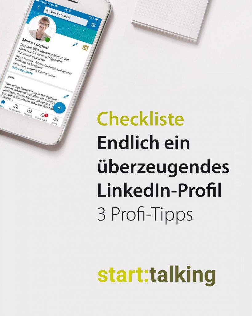 Checkliste: 3 Profitipps für Linkedin von Start Talking