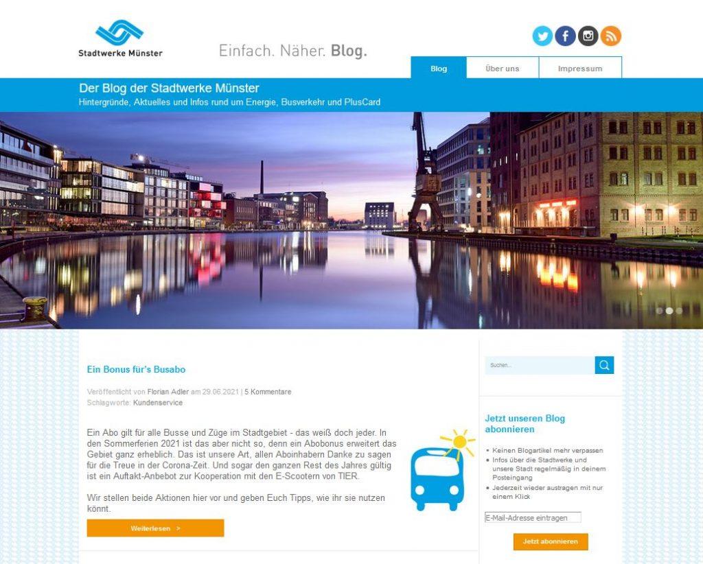 Behörden Blogs Praxisbeispiele: Das Blog der Stadtwerke Münster